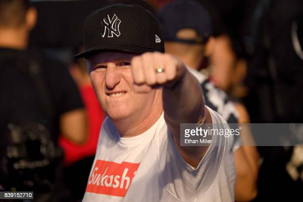 Actor Michael Rapaport attends the Floyd Mayweather Jr and UFC lightweight champion Conor McGregor official weighin at TMobile Arena on August 25...