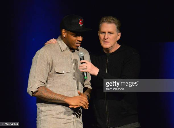 Actor Michael Rapaport interviews Rashad McCants after he was selected number one overall in the 2017 BIG3 basketball league draft at Planet...