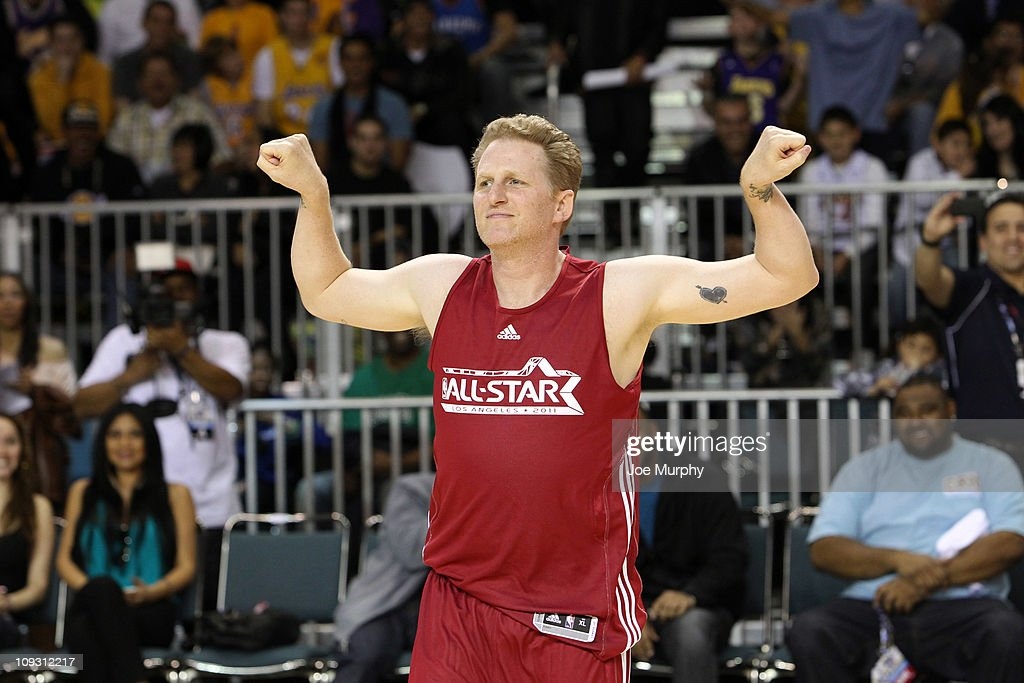 Actor Michael Rapaport reacts to winning the Celebrity 3-Point Challenge on center court at Jam Session presented by Adidas during NBA All Star Weekend at the Los Angeles Convention Center on February 20, 2011 in Los Angeles, California.