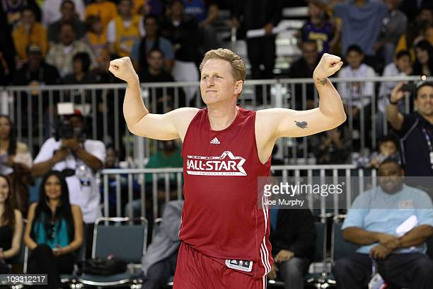 Actor Michael Rapaport reacts to winning the Celebrity 3Point Challenge on center court at Jam Session presented by Adidas during NBA All Star...