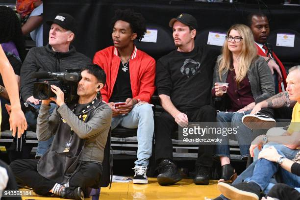 Actor Michael Rappaport and actor Kevin Dillon attend a basketball game between the Los Angeles Lakers and the Utah Jazz at Staples Center on April 8...