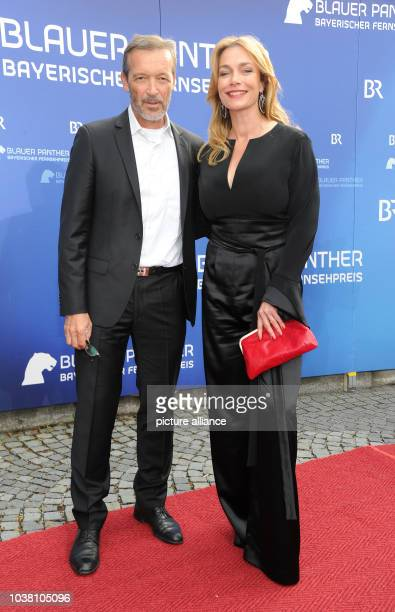 Actor Michael Roll and actress Aglaia Szyszkowitz arrive to the 27th Bavarian TV Awards ceremonyat the Prinzregenten Theater in Munich Germany 22...