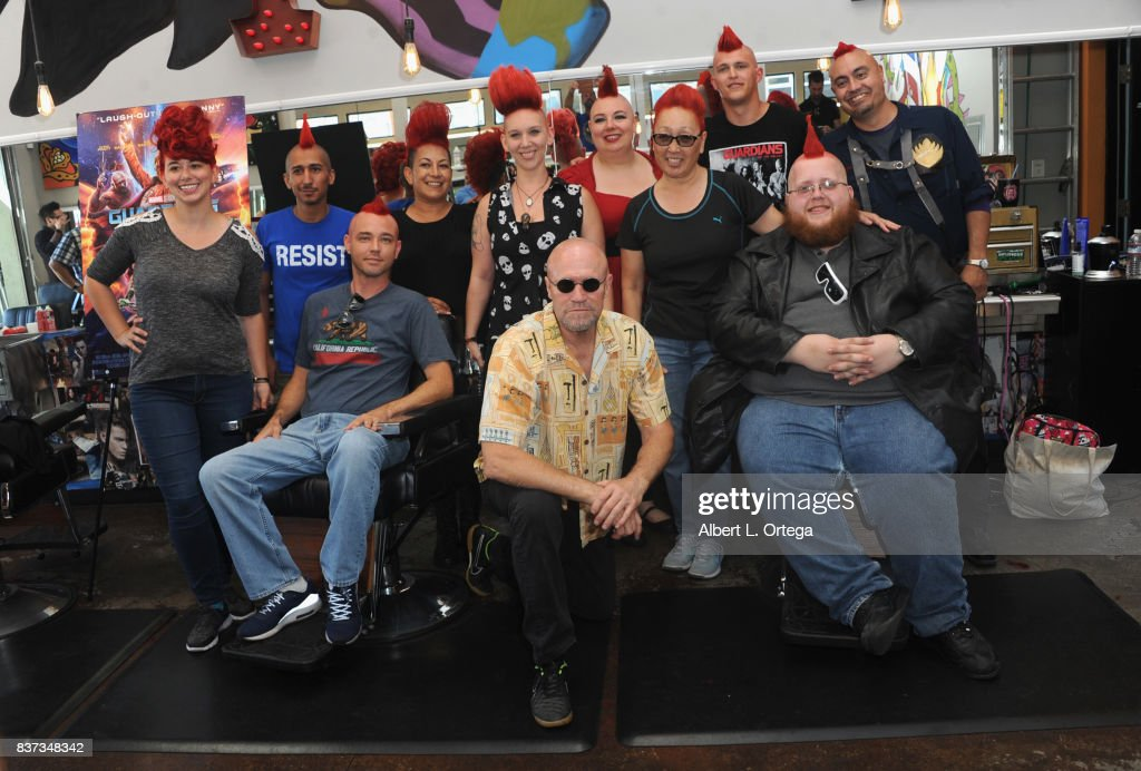 Actor Michael Rooker posese with fans with Yondu mohawks at Disney's Celebration for the Release Of 'Guardians Of The Galaxy Vol. 2' Blu-ray held at Shorty's Barber Shop on August 22, 2017 in West Hollywood, California.