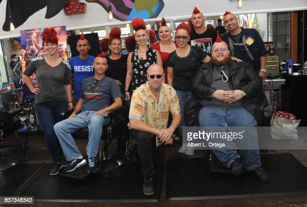 Actor Michael Rooker posese with fans with Yondu mohawks at Disney's Celebration for the Release Of 'Guardians Of The Galaxy Vol 2' Bluray held at...