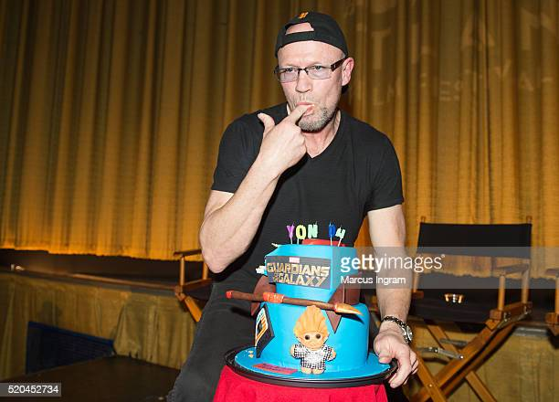 Actor Michael Rooker surprise birthday cake during the Marvel's Guardians of the Galaxy QA session at The Plaza Theatre on April 10 2016 in Atlanta...