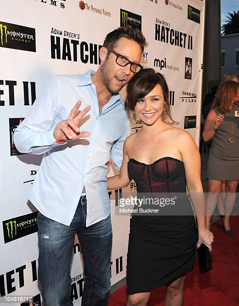 Actor Michael Rosenbaum and actrss Danielle Harris arrive at the premiere of Dark Sky Films' 'Hatchett II' at The Egyptian Theater on September 28...