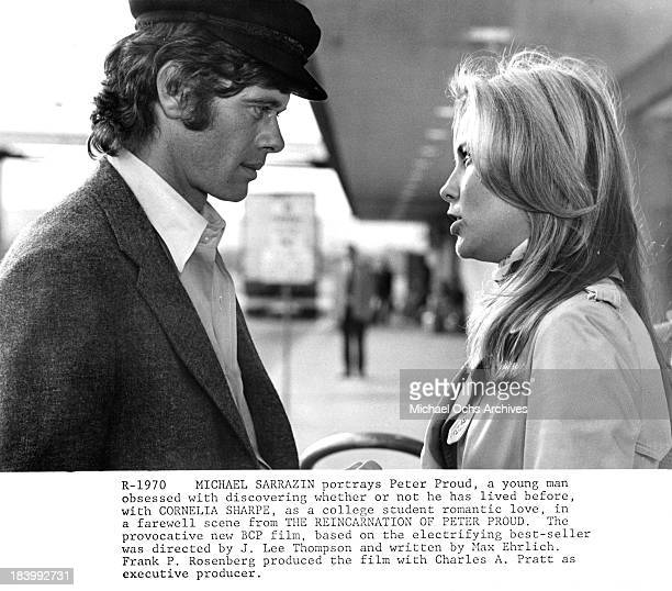 Actor Michael Sarrazin and actress Cornelia Sharpe on set of the movie The Reincarnation of Peter Proud in 1975