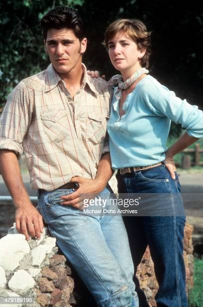 "Actor Michael Schoeffling and actress Melissa Gilbert pose in a scene from the movie ""Sylvester"" circa 1985."