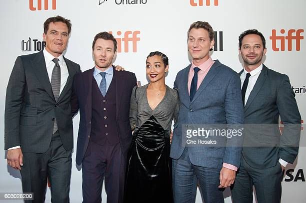 Actor Michael Shannon Actor Joel Edgerton Actress Ruth Negga Director Jeff Nichols and Actor Nick Kroll attend the premiere of 'Loving' during the...