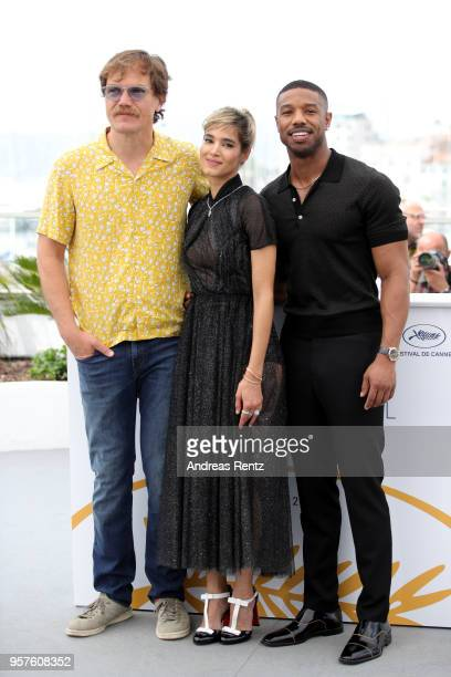 Actor Michael Shannon actress Sofia Boutella and actor Michael B Jordan attend the photocall for Farenheit 451 during the 71st annual Cannes Film...