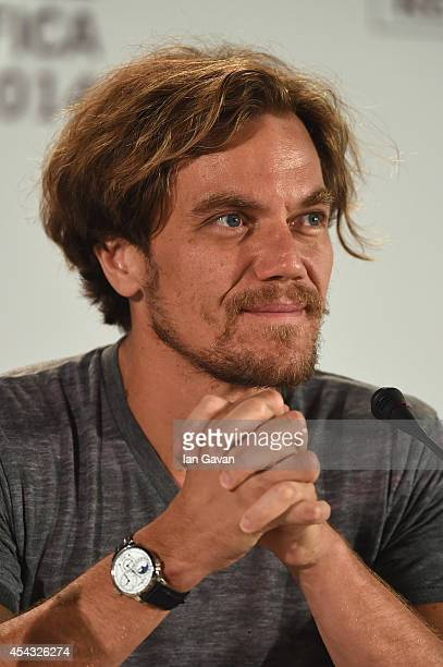 Actor Michael Shannon wearing a JaegerLeCoultre Duometre a Quantieme Lunaire watch attends the '99 Homes' press conference before the photocall...