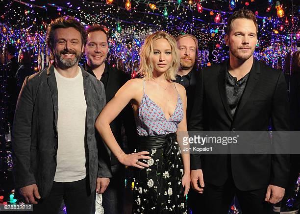 Actor Michael Sheen, actress Jennifer Lawrence; actor Chris Pratt, writer Jon Spaihts and director Morten Tyldum pose at the photo call for Columbia...