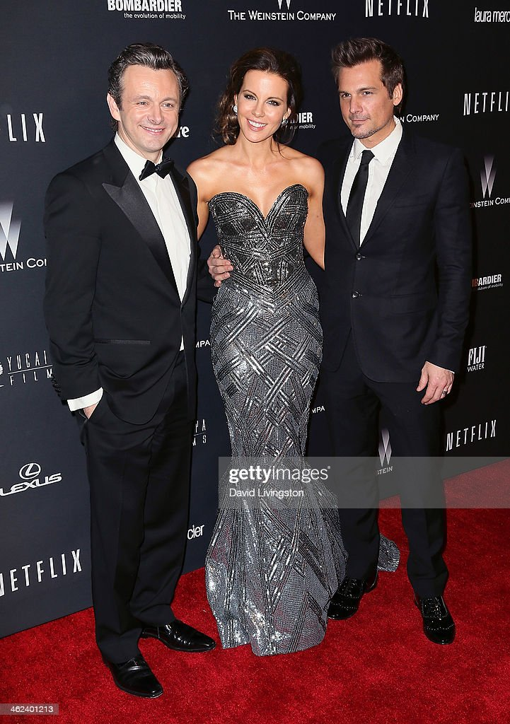 Actor Michael Sheen, actress Kate Beckinsale and her husband director Len Wiseman attend The Weinstein Company's 2014 Golden Globe Awards After Party at The Beverly Hilton hotel on January 12, 2014 in Beverly Hills, California.