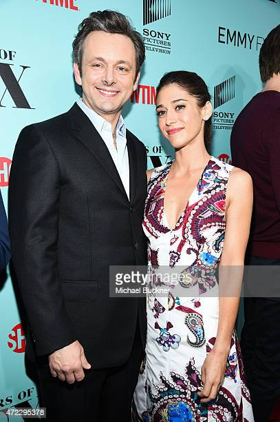 "Actor Michael Sheen and actress Lizzy Caplan arrive at the screening of Showtime and Sony Pictures Television's ""Masters Of Sex"" at the Cary Grant..."