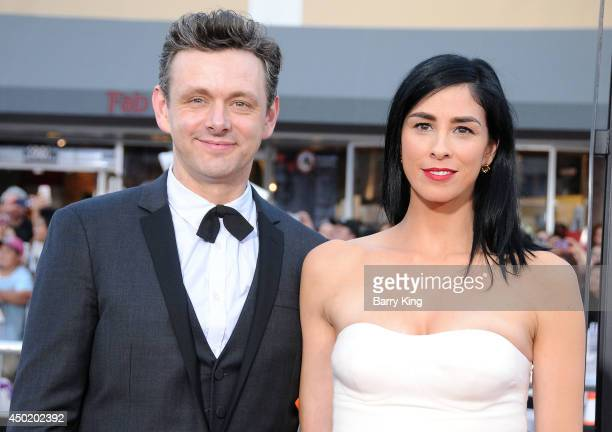 Actor Michael Sheen and actress/comic Sarah Silverman arrive at the Los Angeles Premiere 'A Million Ways To Die In The West' on May 15 2014 at...