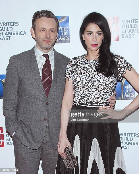 Actor Michael Sheen and comedian Sarah Silverman attend the 2015 Writers Guild Awards New York Ceremony at The Edison Ballroom on February 14 2015 in...