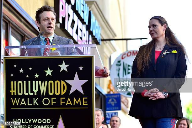 Actor Michael Sheen and Maria Burton attend a ceremony honoring her father Richard Burton with a Star on the Hollywood Walk of Fame next to Elizabeth...