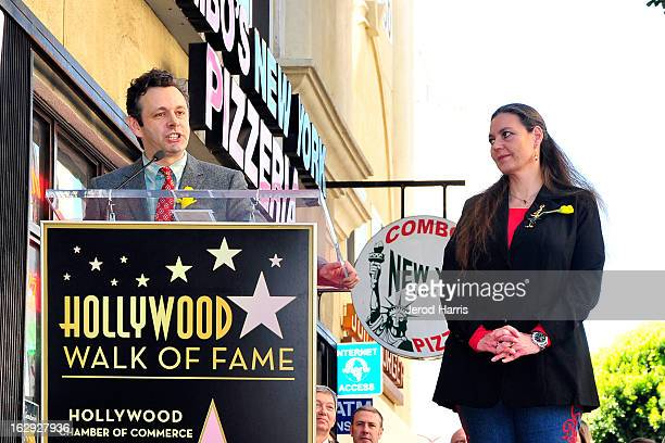 Actor Michael Sheen and Maria Burton attend the ceremony honoring her father Richard Burton with a Star on the Hollywood Walk of Fame next to...