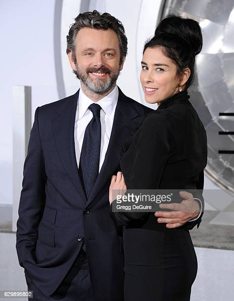 Actor Michael Sheen and Sarah Silverman arrive at the premiere of Columbia Pictures' Passengers at Regency Village Theatre on December 14 2016 in...