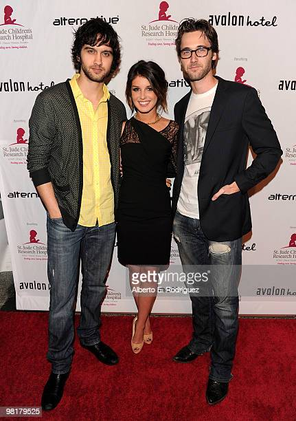 Actor Michael Steger actress Shenae Grimes and actor Ryan Eggold pose on the red carpet at a benefit for St Jude Children's Hospital hosted by...