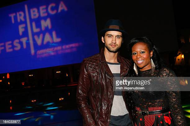 Actor Michael Steger and his wife actress Brandee Tucker attend the 2013 Tribeca Film Festival LA Reception at The Beverly Hilton Hotel on March 18...