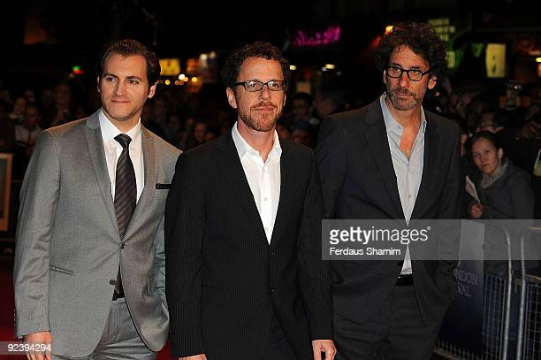 Actor Michael Stuhlbarg and directors Ethan Coen and Joel Coen attend the screening of 'A Serious Man' during The Times BFI London Film Festival at...
