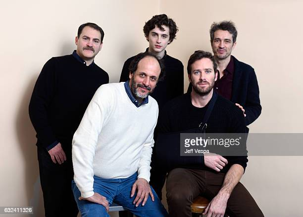 Actor Michael Stuhlbarg filmmaker Luca Guadagnino actors Timothée Chalamet Armie Hammer and editor Walter Fasano from the film 'Call Me by Your Name'...