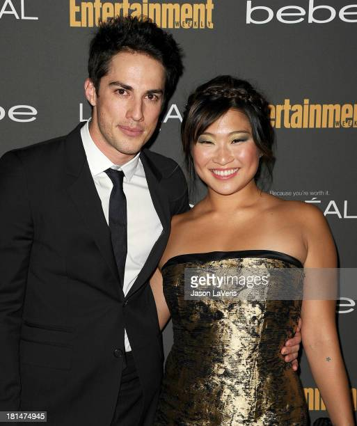 Actor Michael Trevino and actress Jenna Ushkowitz attend the Entertainment Weekly pre-Emmy party at Fig & Olive Melrose Place on September 20, 2013...