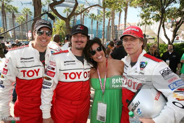Actor Michael Trucco actor Kim Coates Denise Hartman and actor William Fichtner pose during the 35th Annual Toyota Pro/Celebrity Race at the Long...
