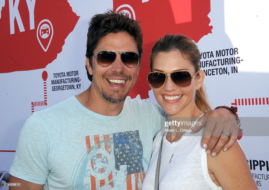 Actor Michael Trucco and actress Tricia Helfer at the 42nd Toyota Grand Prix Of Long Beach - Press Day on April 5, 2016 in Long Beach, California.
