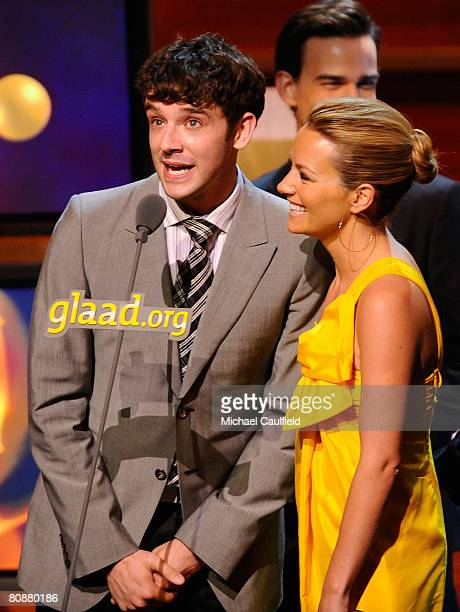Actor Michael Urie and Actress Becki Newton at the 19th Annual GLAAD Media Awards on April 25, 2008 at the Kodak Theatre in Hollywood, California.