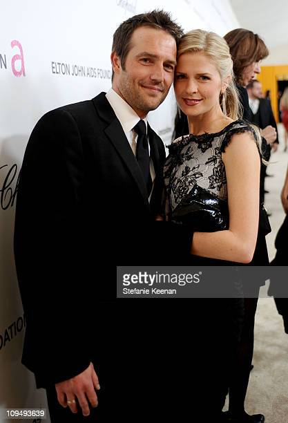 Actor Michael Vartan and Lauren Skaar attend the 19th Annual Elton John AIDS Foundation Academy Awards Viewing Party at the Pacific Design Center on...