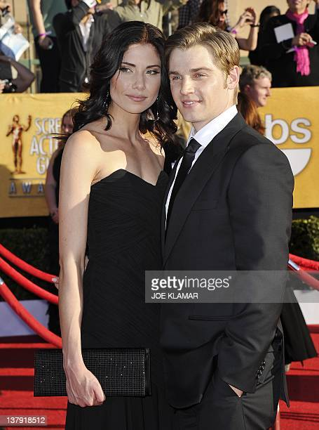 Actor Michael Vogel and Courtney Vogel arrive to the 18th Annual Screen Actors Guild Awards at the Shrine Auditorium in Los Angeles California on...
