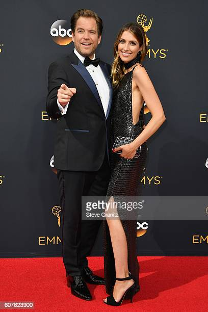 Actor Michael Weatherly and Bojana Jankovic attend the 68th Annual Primetime Emmy Awards at Microsoft Theater on September 18, 2016 in Los Angeles,...