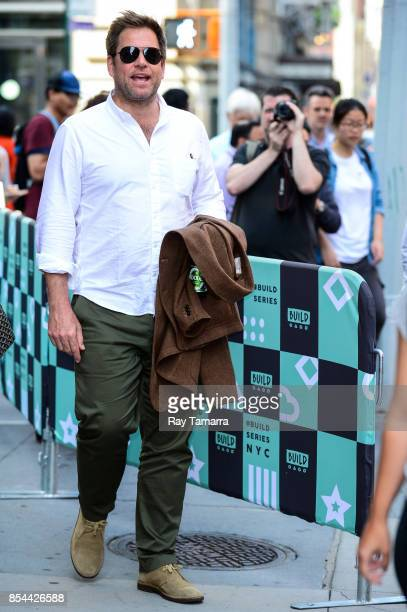 Actor Michael Weatherly leaves the AOL Build taping at the AOL Studios on September 26 2017 in New York City
