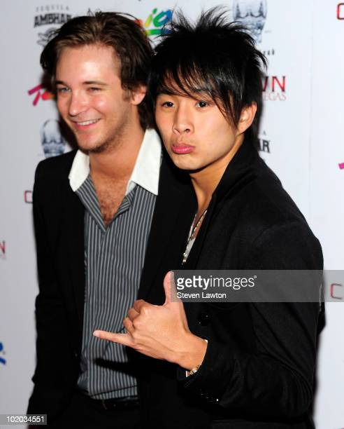 Actor Michael Welch and actor Justin Chon arrive to host an evening at Crown Nightclub on June 12 2010 in Las Vegas Nevada