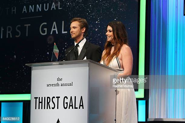 Actor Michael Welch and actress Jillian Rose Reed speak onstage at the 7th Annual Thirst Gala at The Beverly Hilton Hotel on June 13 2016 in Beverly...