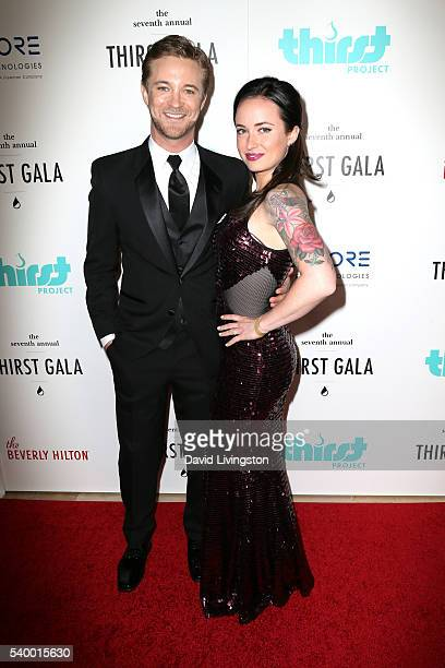 Actor Michael Welch and actress Marissa Lefton attend the 7th Annual Thirst Gala at The Beverly Hilton Hotel on June 13 2016 in Beverly Hills...