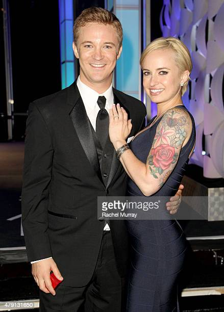 Actor Michael Welch gets engadged to girlfriend Sam Maggio onstage during the 6th Annual Thirst Gala at the Beverly Hilton Hotel on June 30 2015 in...