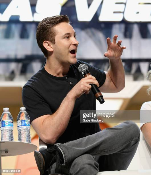 Actor Michael Welch speaks at the Guest Stars of Trek Universe Part 1 panel during the 17th annual official Star Trek convention at the Rio Hotel...
