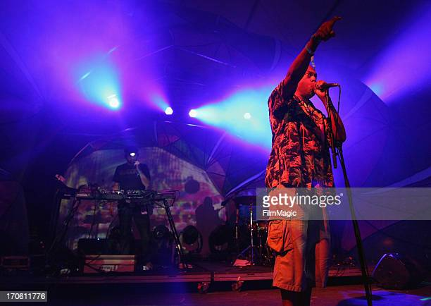 Actor Michael Winslow performs with Animal Collective onstage at This Tent during day 2 of the 2013 Bonnaroo Music Arts Festival on June 14 2013 in...