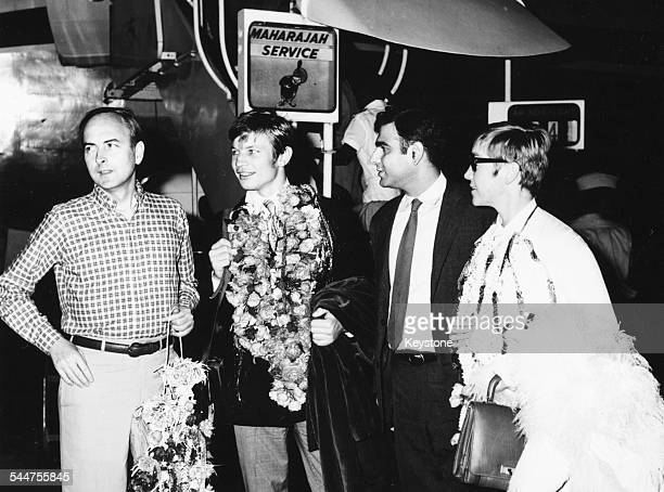 Actor Michael York and director James Ivory and producer Ismail Merchant promoting their film 'The Guru' in India 1967