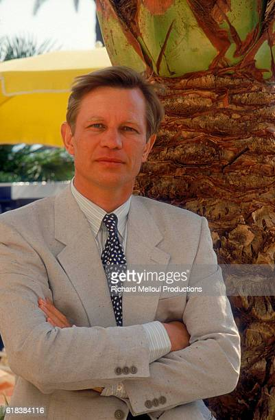 Actor Michael York attending the 1987 Cannes Film Festival. He is presenting his new movie, The Secret of the Sahara.