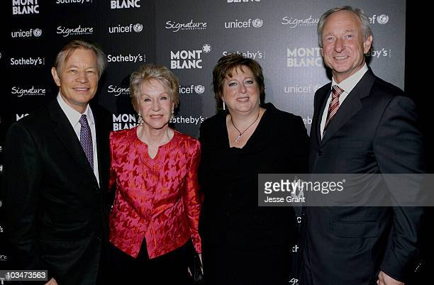 Actor Michael York Patricia McCallum President CEO of the US Fund for UNICEF Caryl M Stern and Montblanc International CEO Lutz Bethge attend the...