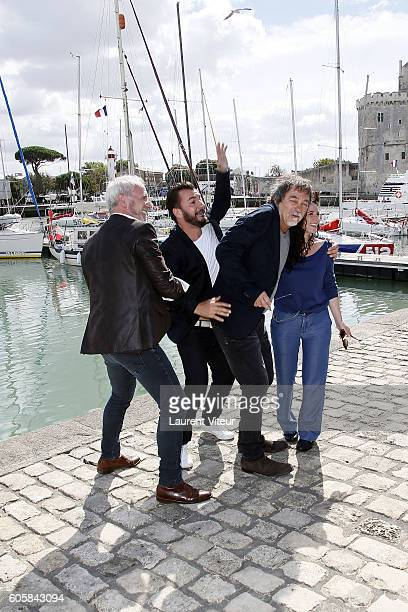 Actor Michael Youn, Actor Geoffroy Thiebaut, Director Olivier Marchal and Actress Elsa Lunghini attend the 'Mon Frere Bien Aime' Photocall during the...