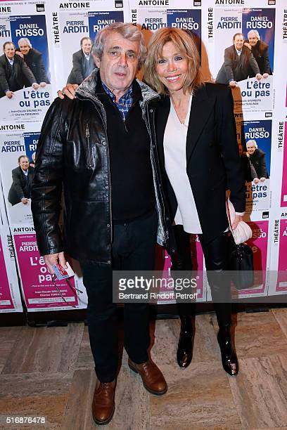 Actor Michel Boujenah and Miss Emmanuel Macron attend the 'L'Etre ou pas' Theater play at Theatre Antoine on March 21 2016 in Paris France
