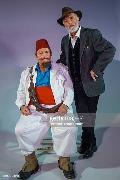 Actor Michel Galabru and director Jerome savary pose during a photo session for the play 'Tartarin De Tarascon' adapted from the 1872 eponymous novel...