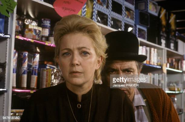Actor Michel Galabru and female coubnterpart Marie Dubois on the set of French film Grand Guignol directed by Jean Marboeuf August 8 1985
