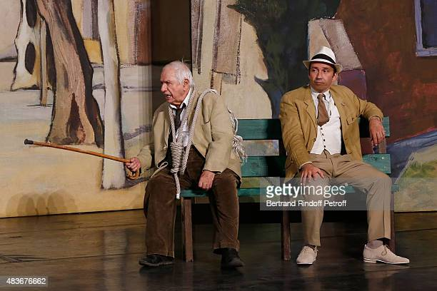 Actor Michel Galabru and other actor perform in the 'Jofroi' Theater Play during the 31th Ramatuelle Festival : Day 11, on August 11, 2015 in...