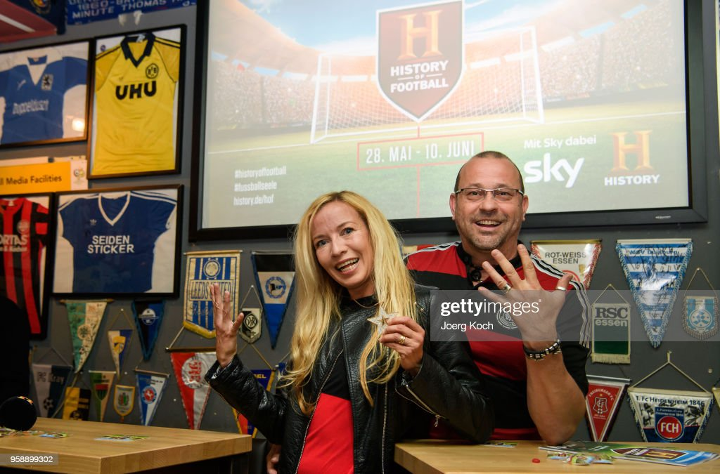 Actor Michel Guillaume and wife Alexandra attend the preview screening of the new documentaries 'Deutschland - Deine Fussballseele' and 'Magische WM-Momente - Tore, Traeume & Triumphe: 7 zu 1' as part of the TV event 'History of Football' by TV channel HISTORY at sports bar 'Stadion an der Schleissheimerstrasse' on May 15, 2018 in Munich, Germany.